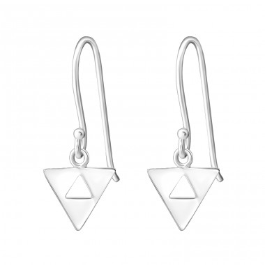 Triangle - 925 Sterling Silver Basic Earrings A4S34887