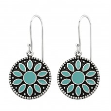 Flower - 925 Sterling Silver Basic Earrings A4S35036