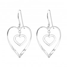 Heart - 925 Sterling Silver Basic Earrings A4S35103