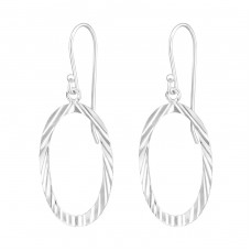Oval - 925 Sterling Silver Basic Earrings A4S35121