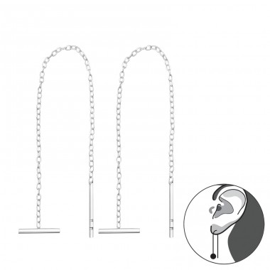 Thread Through Bar Earring - 925 Sterling Silver Basic Earrings A4S35771