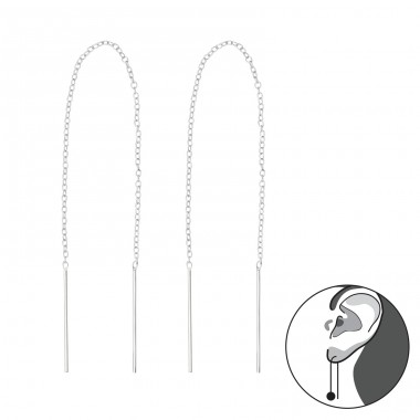 Thread Through Bar Earring - 925 Sterling Silver Basic Earrings A4S35773