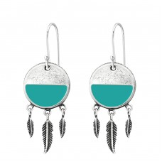 Silver Ethnic Earrings With Hanging Feather - 925 Sterling Silver Basic Earrings A4S36433