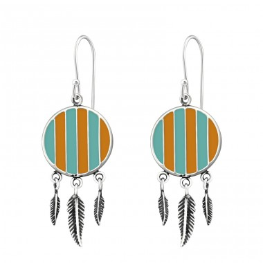 Silver Ethnic Earrings With Epoxy And Hanging Feather - 925 Sterling Silver Basic Earrings A4S36461