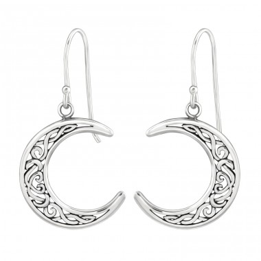 Moon - 925 Sterling Silver Basic Earrings A4S36699