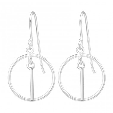 Hanging Circle Bar - 925 Sterling Silver Basic Earrings A4S36993