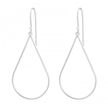 Teardrop - 925 Sterling Silver Basic Earrings A4S37117