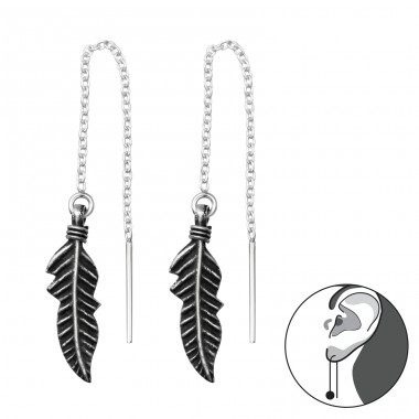 Feather Thread Through - 925 Sterling Silver Basic Earrings A4S37852