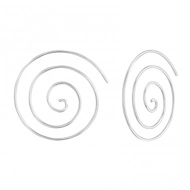 Spiral - 925 Sterling Silver Basic Earrings A4S38122