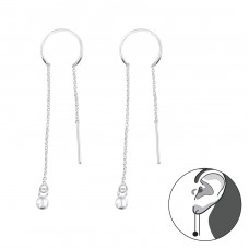 Silver Thread Through Earring With Hanging Ball - 925 Sterling Silver Basic Earrings A4S38494