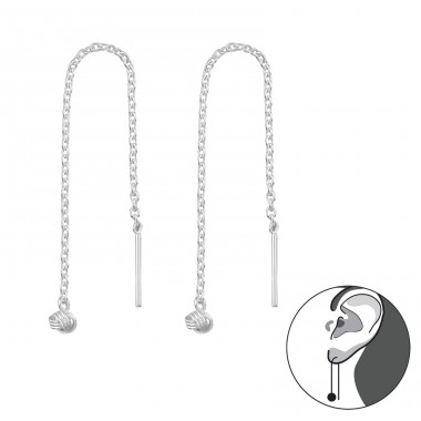 Silver Thread Through Earring With Hanging Knot - 925 Sterling Silver Basic Earrings A4S38495