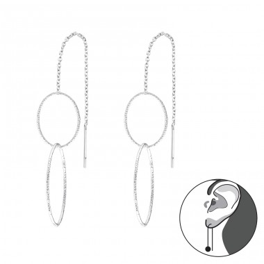 Geometric - 925 Sterling Silver Basic Earrings A4S39118