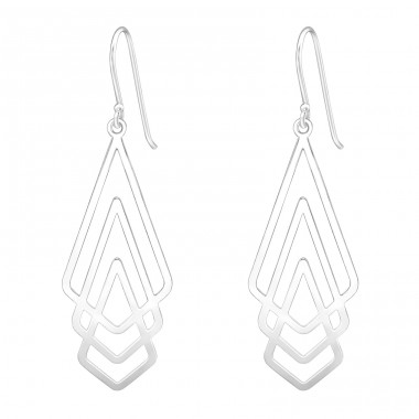 Geometric - 925 Sterling Silver Basic Earrings A4S39203