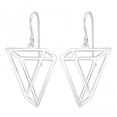 Geometric - 925 Sterling Silver Basic Earrings A4S39204