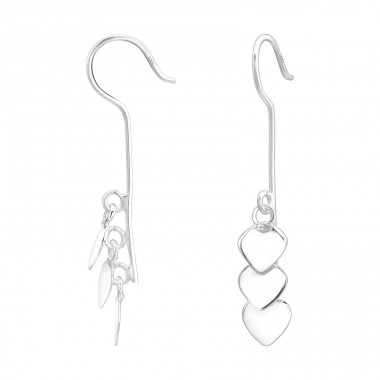 Triple Heart - 925 Sterling Silver Basic Earrings A4S39962