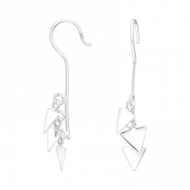 Triple Triangle - 925 Sterling Silver Basic Earrings A4S39963