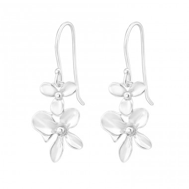 Flower - 925 Sterling Silver Basic Earrings A4S40013