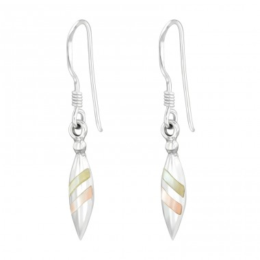 Pear with pastel colors - 925 Sterling Silver Basic Earrings A4S40452