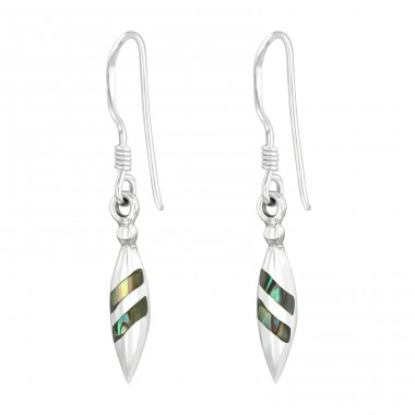 Pear with Abalone Opal - 925 Sterling Silver Basic Earrings A4S40453