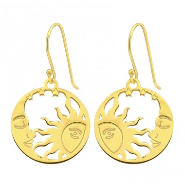 Golden Moon And Sun - 925 Sterling Silver Plain Earrings A4S40579