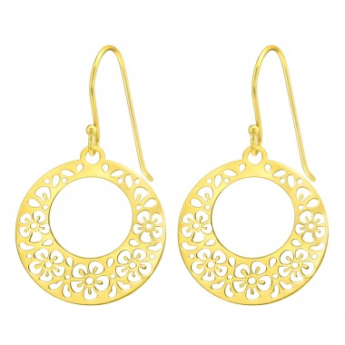 Golden circle with flowers - 925 Sterling Silver Plain Earrings A4S40581