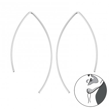 Wire - 925 Sterling Silver Basic Earrings A4S40918