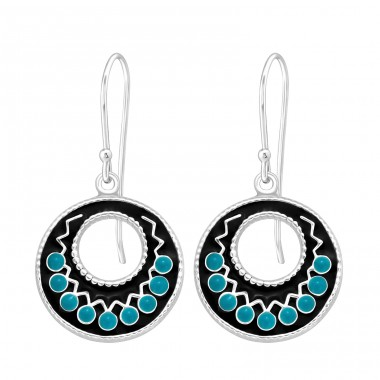 Ethnic - 925 Sterling Silver Basic Earrings A4S41040