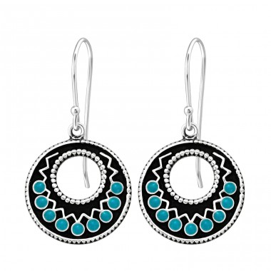 Ethnic black and turquoise - 925 Sterling Silver Basic Earrings A4S41041