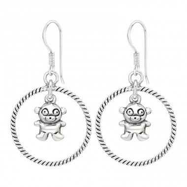 Hoop with hanging Bear - 925 Sterling Silver Plain Earrings A4S41769