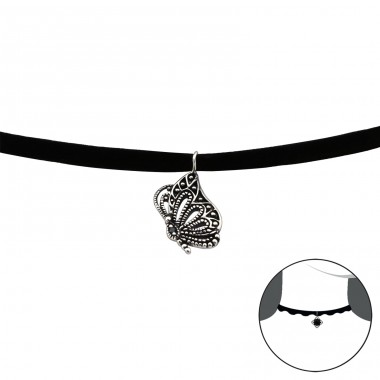 Butterfly - 925 Sterling Silver + Velvet Chokers necklace A4S30655