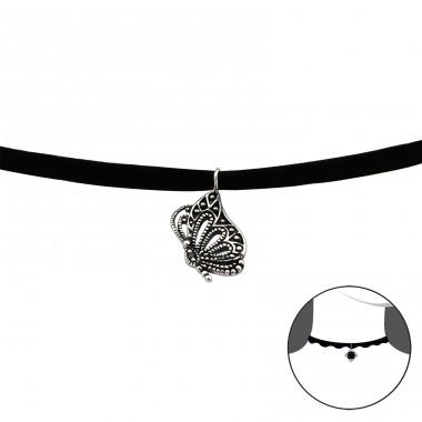 Butterfly - Velvet + 925 Sterling Silver Chokers necklace A4S30655