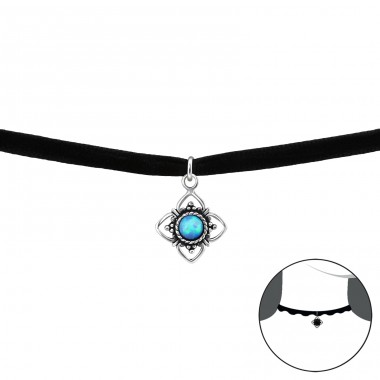 Oxidized Flower Opal - Velvet + 925 Sterling Silver Chokers necklace A4S30656