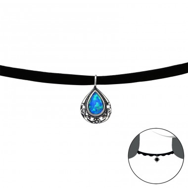 Antique Tear Drop Opal - Velvet + 925 Sterling Silver Chokers necklace A4S30657