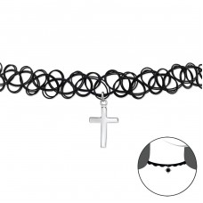 Cross - 925 Sterling Silver + Plastic Chokers necklace A4S32954