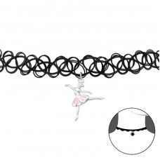 Ballerina - 925 Sterling Silver + Plastic Chokers necklace A4S32958