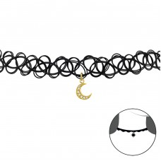 Moon - 925 Sterling Silver + Plastic Chokers necklace A4S33970