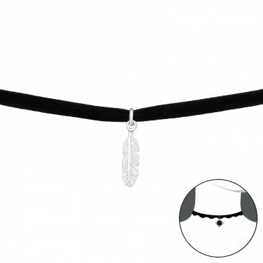 Feather - Velvet + 925 Sterling Silver Chokers necklace A4S33978
