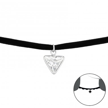 Triangle - Velvet + 925 Sterling Silver Chokers necklace A4S33980