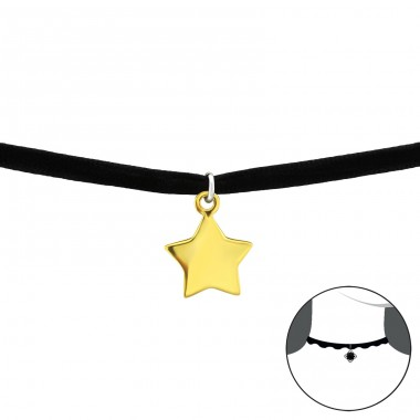 Star - 925 Sterling Silver + Velvet Chokers necklace A4S33981