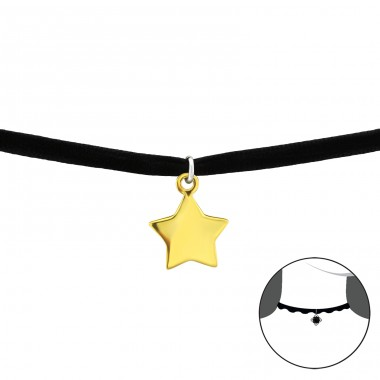 Star - Velvet + 925 Sterling Silver Chokers necklace A4S33981
