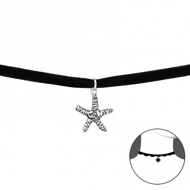 Starfish - Velvet + 925 Sterling Silver Chokers necklace A4S33982