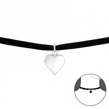 Heart - 925 Sterling Silver + Velvet Chokers Necklace A4S33983