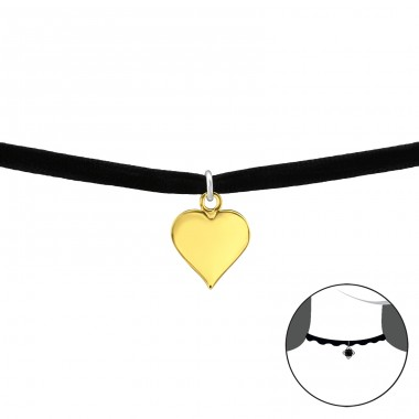 Heart - Velvet + 925 Sterling Silver Chokers necklace A4S33984