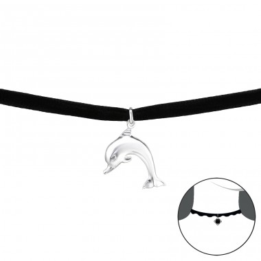 Dolphin - Velvet + 925 Sterling Silver Chokers necklace A4S33985