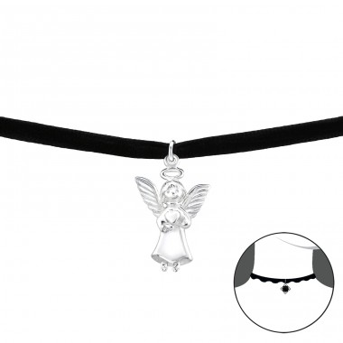 Angle - Velvet + 925 Sterling Silver Chokers necklace A4S33986