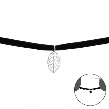 Leaf - 925 Sterling Silver + Velvet Chokers necklace A4S33987
