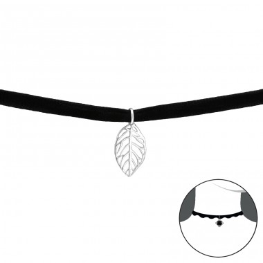 Leaf - Velvet + 925 Sterling Silver Chokers necklace A4S33987