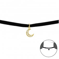 Moon - Velvet + 925 Sterling Silver Chokers necklace A4S33988