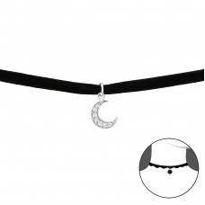 Moon - 925 Sterling Silver + Velvet Chokers Necklace A4S33989
