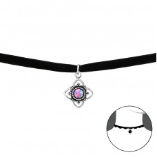 Round Opal - Velvet + 925 Sterling Silver Chokers necklace A4S33990